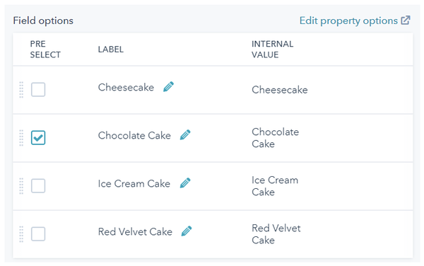 A sample list of Field options with various types of cake available to add to the dropdown menu