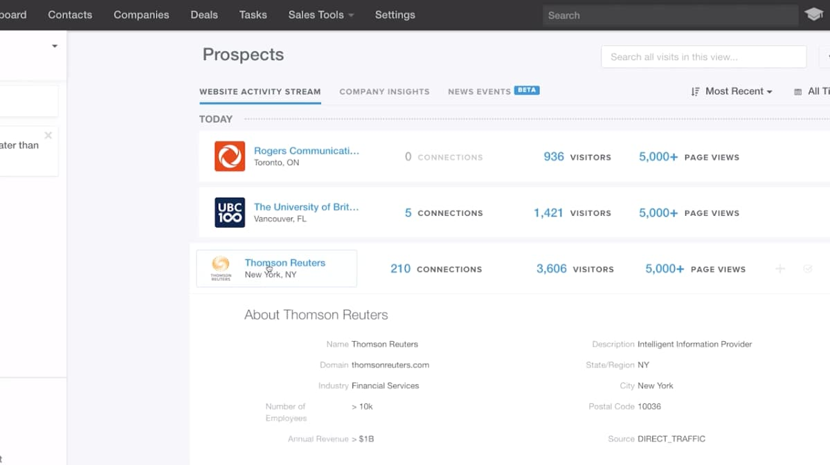 HubSpot Sales Hub prospect page