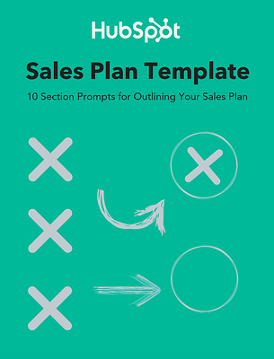 HubSpot Sales Plan Template cover that reads:10 Section Prompts for Outlining Your Sales Plan