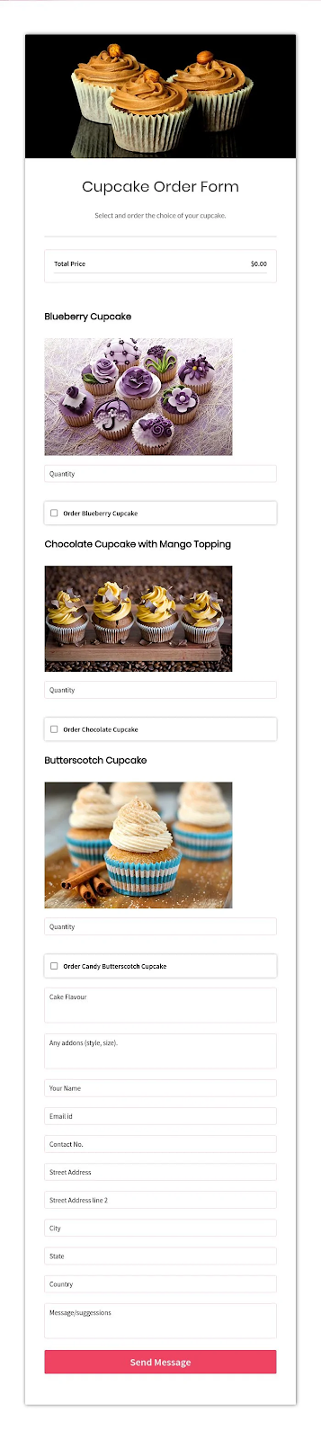free order form templates cupcake order form