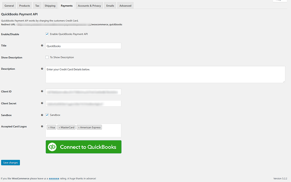 Configuring settings of QuickBooks Payment API plugin