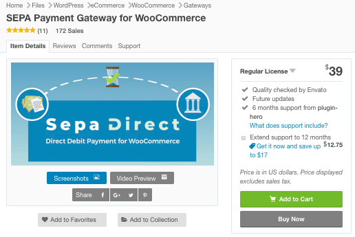 SEPA Payment Gateway for WooCommerce plugin in CodeCandyon marketplace