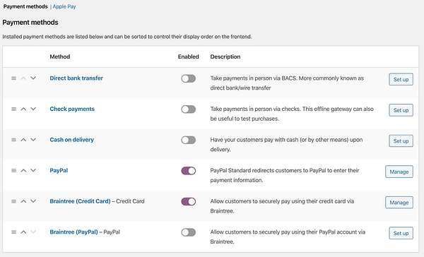 Two payment gateways toggled on in Woocommerce settings