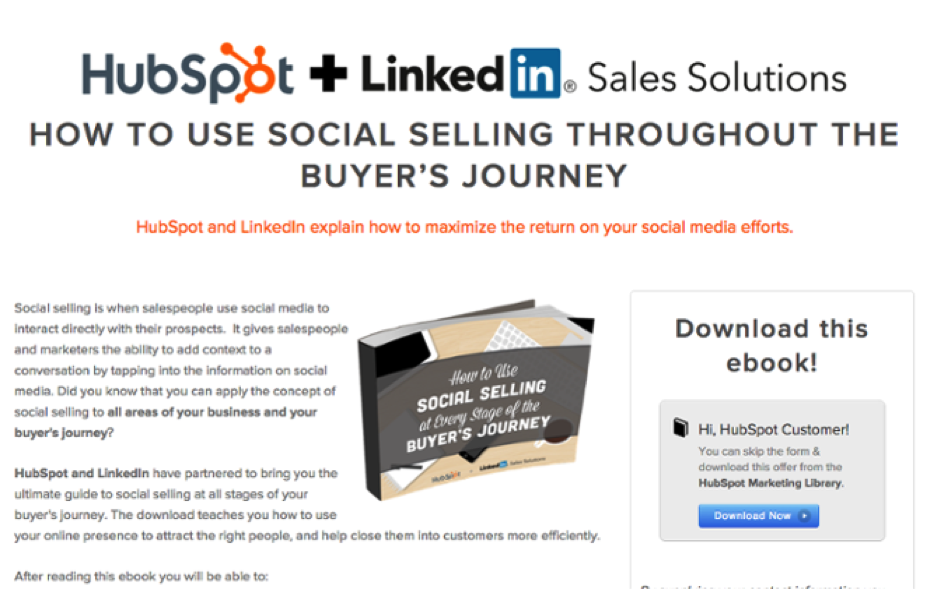 Co-marketing offer about social media and sales by HubSpot and LinkedIn