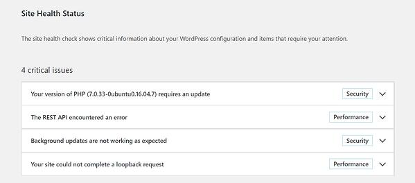 Site Health Status report in WordPress dashboard