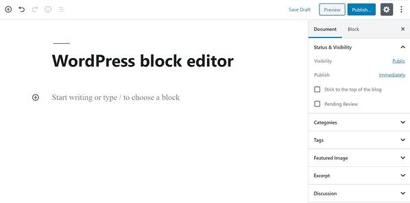 blog post template in the Gutenberg block editor