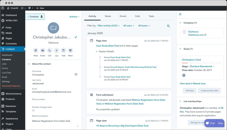 HubSpot portal in WordPress dashboard via HubSpot WordPress plugin