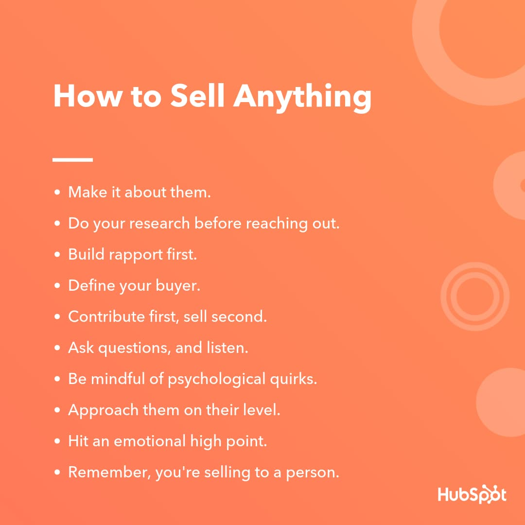 HubSpot's steps for how to sell anything
