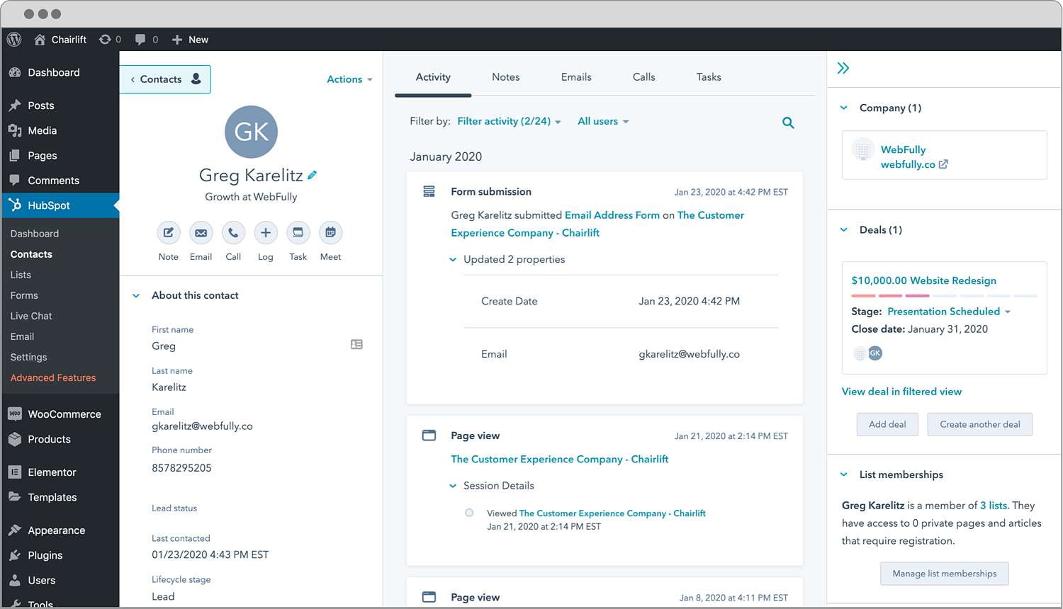 dashboard for the hubspot wordpress plugin