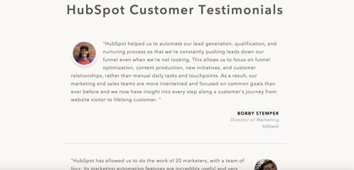hubspot customer testimonials page