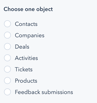 List of objects that HubSpot organizes data by for reporting purposes.