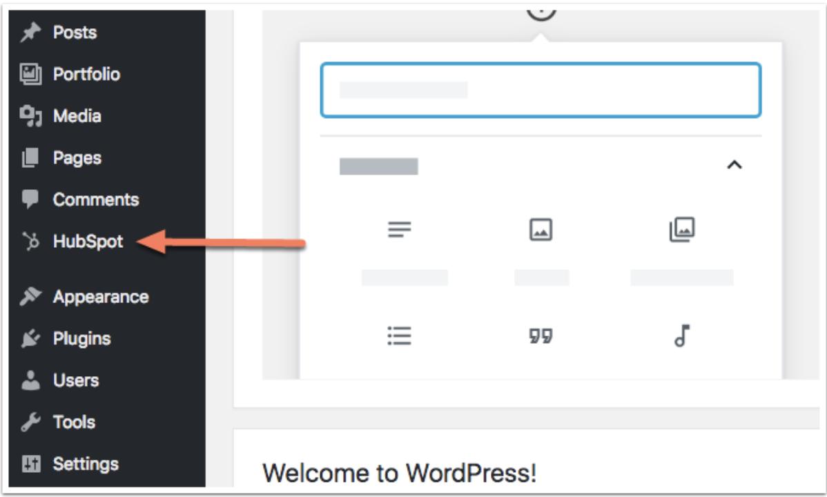 HubSpot plugin in WordPress dashboard to add live chat