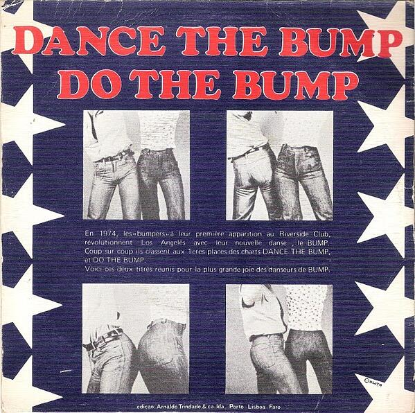 "Four photographs of butts showing how to perform the ""Bump"" dance move"