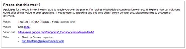 calendar invite cold email