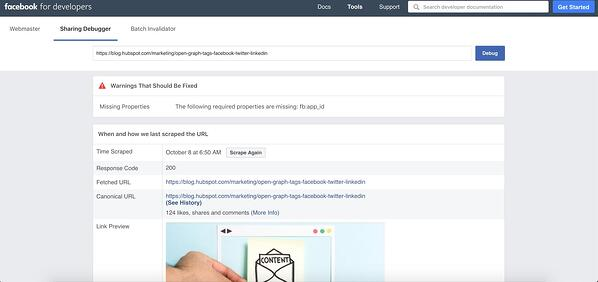 Facebook debugger tool showcases warnings and errors in post.