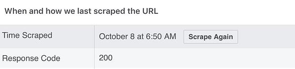 Facebook debugger tool showcases what time a URL was scraped.