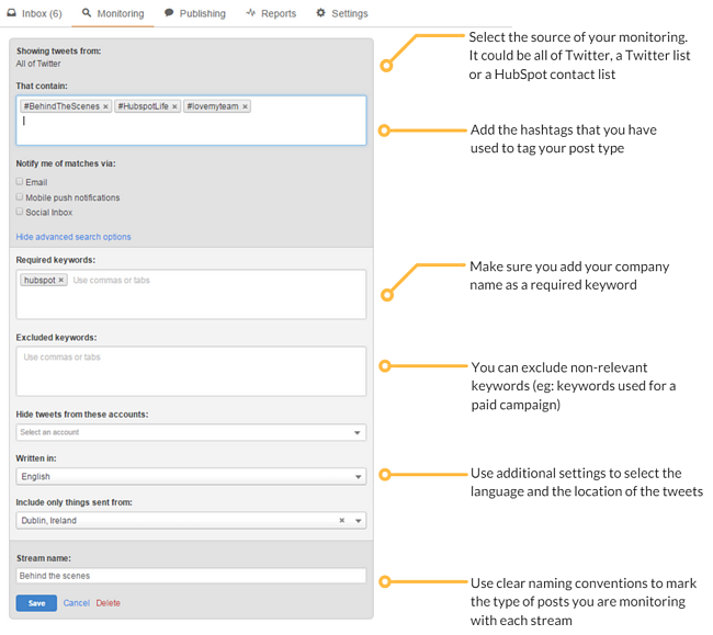 Hubspot social monitoring stream