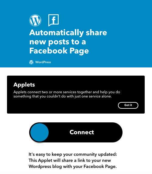 IFTTT WordPress page to automatically post Facebook WordPress