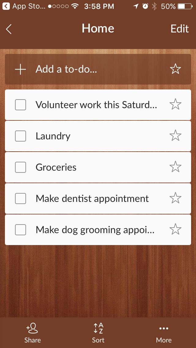 Wunderlist mobile app for tracking your tasks and goals