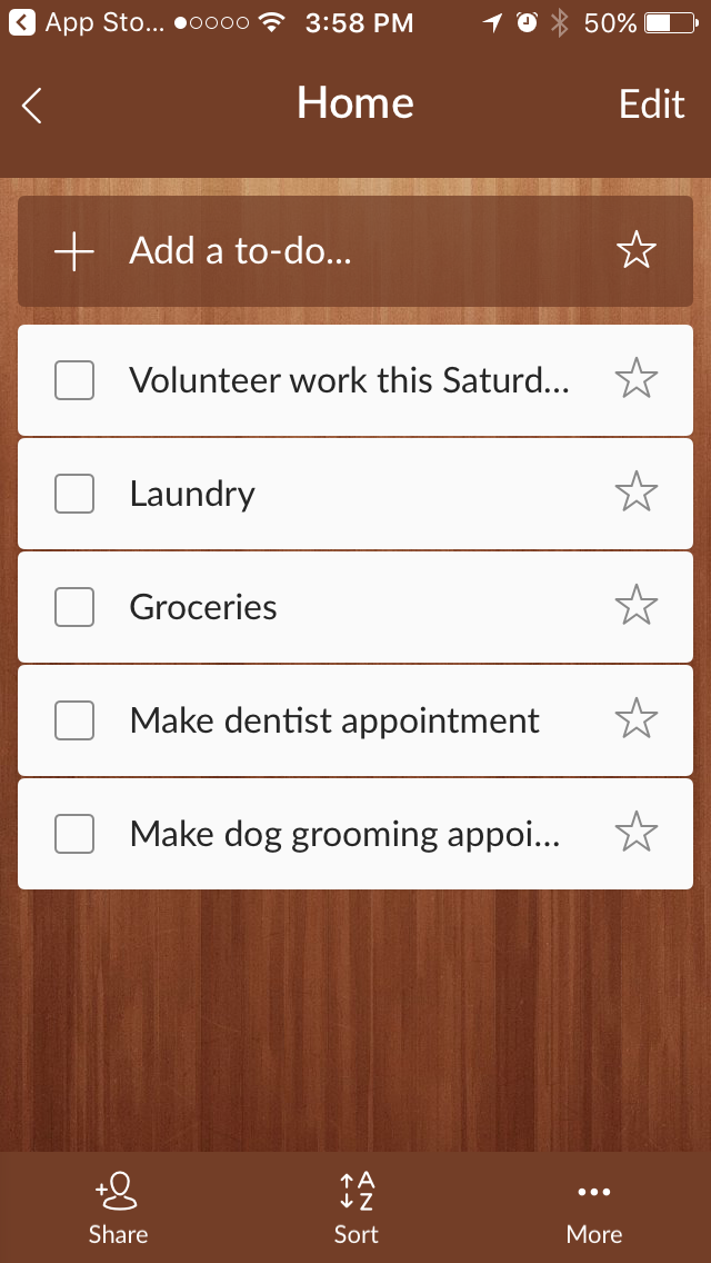 Wunderlist mobile app for tracking your tasks and goals