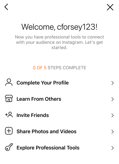 The Instagram for Business settings page to complete your profile