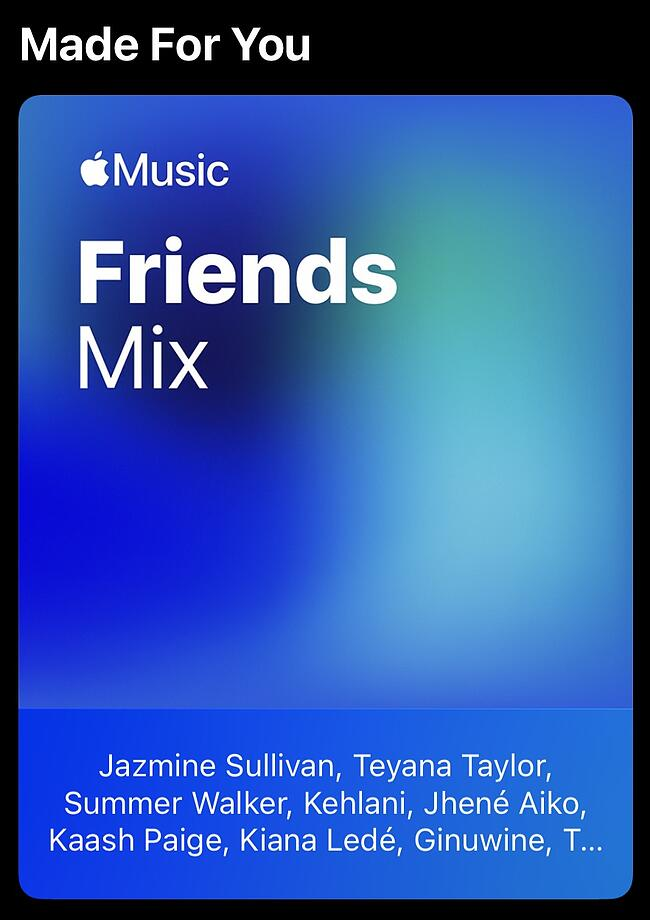 Apple Music personalized recommendations featuring the Friends Mix playlist