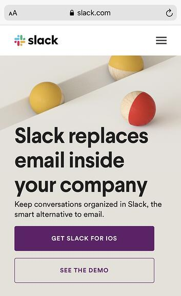 Slack mobile website