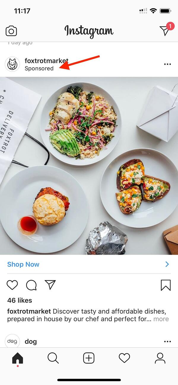 paid advertising example instagram