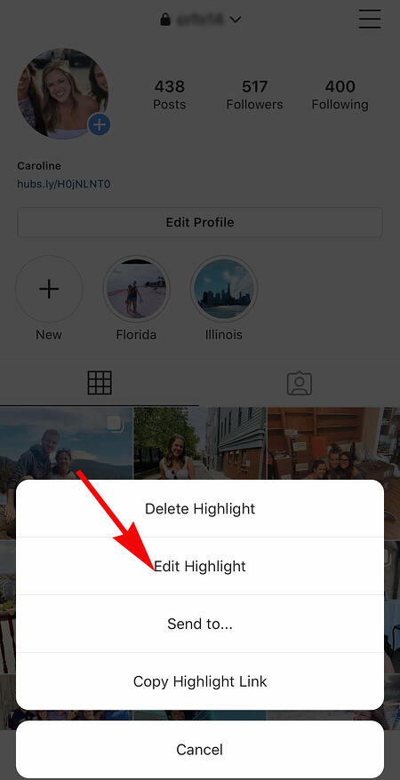 clicking on edit highlight button on instagram