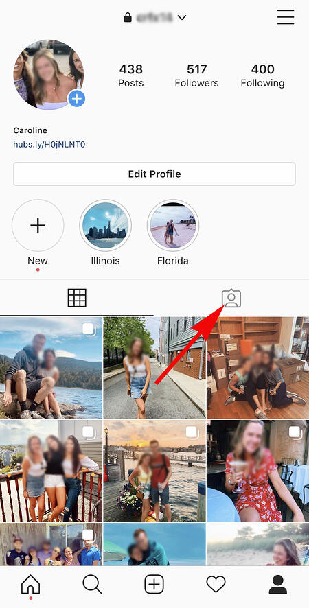 instagram profile with section where you are tagged