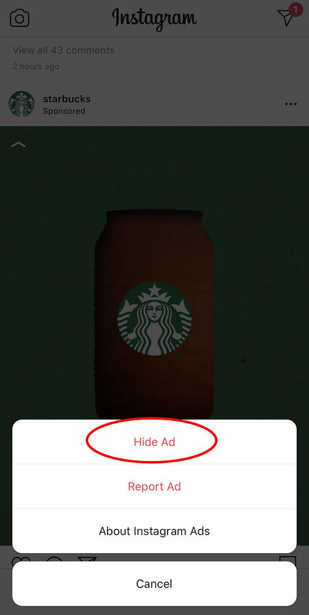 hiding a starbucks ad on instagram