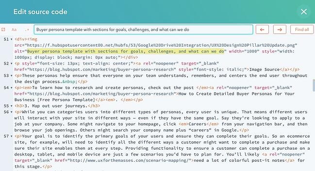 Image alt text tag highlighted in the HTML source code of a blog post in CMS Hub