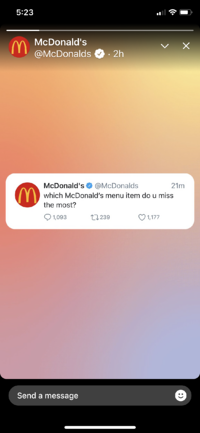McDonalds shares a Tweet in a Fleet