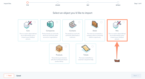Screenshot of Select an object you'd like to import with options such as deals, contacts, products, and more