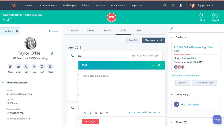 HubSpot's call recording software for sales teams