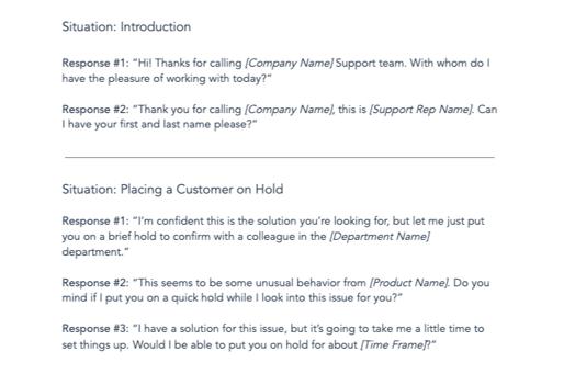 customer service script templates