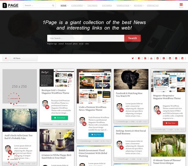 1page Pinterest style theme