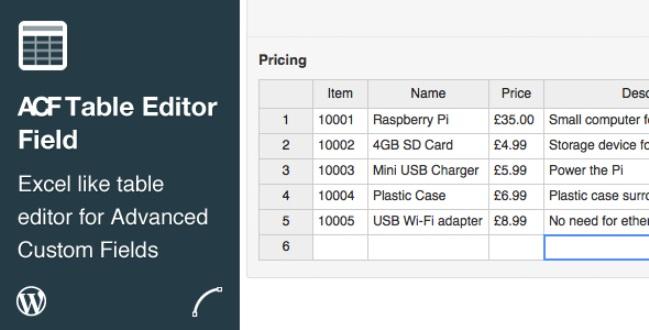 ACF Table Editor Field plugin
