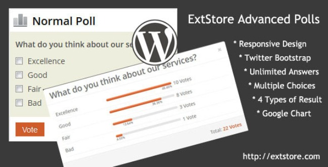 Advanced Polls for WordPress banner showing an example of poll