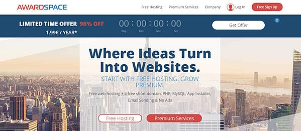 """AwardSpace homepage that reads """"where ideas turn into websites"""""""