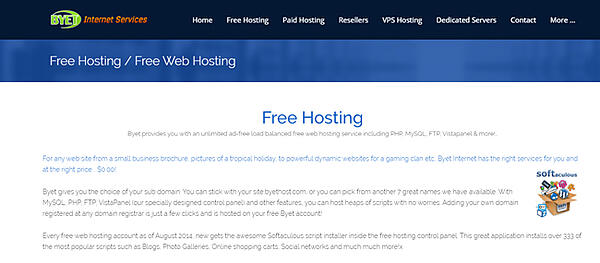 """Byet homepage that reads """"free hosting"""""""