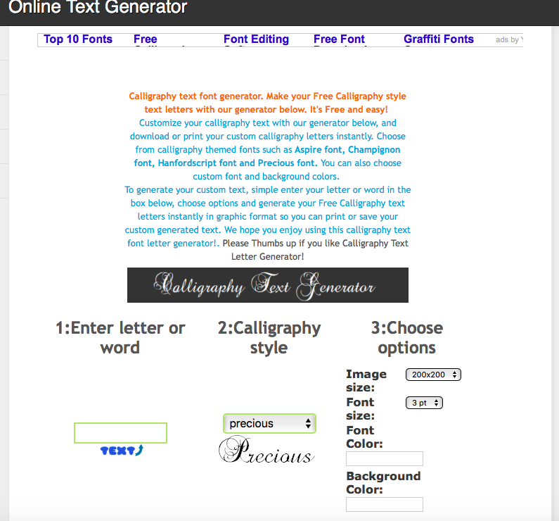 Calligraphy Free Text Generator