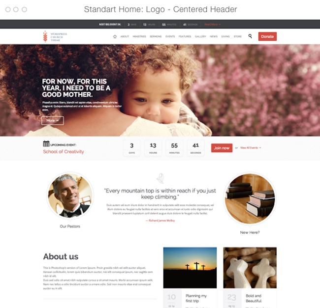 Church and Events wordpress theme