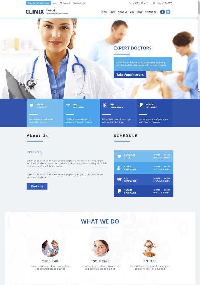 Clinix Medical WordPress Theme