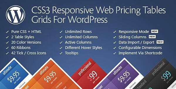 homepage banner for the css3 responsive wordpress compare pricing tables