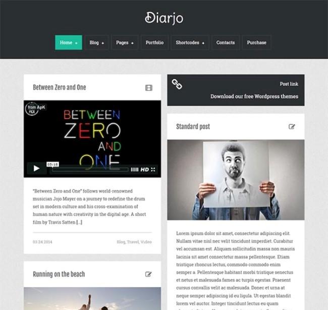Masony grid blog layout created with minimalist WordPress theme  Diarjo