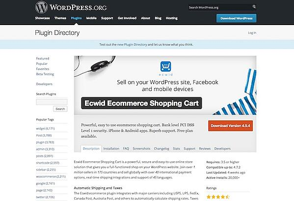 Ecwid Ecommerce Shopping Cart WordPress Plugin
