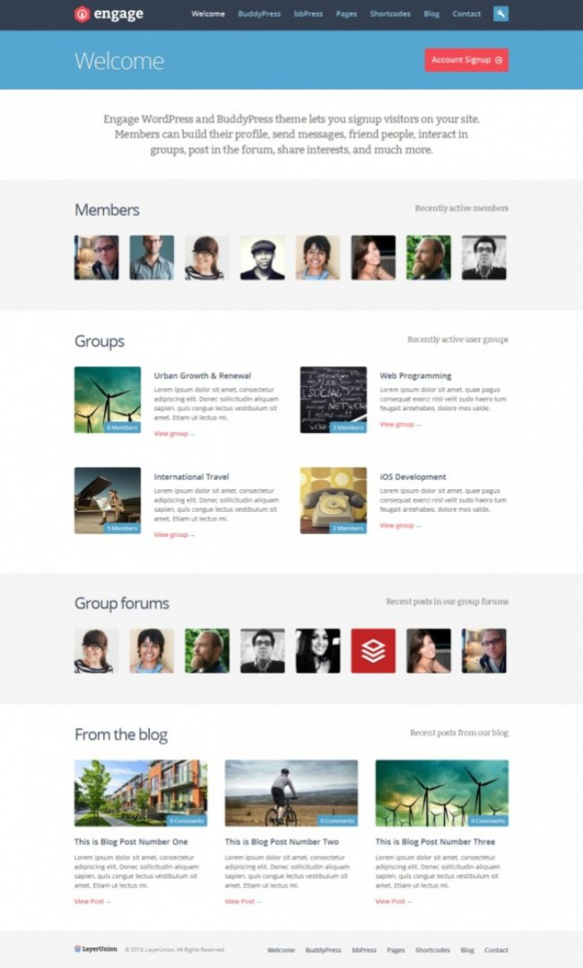 Engage BuddyPress theme