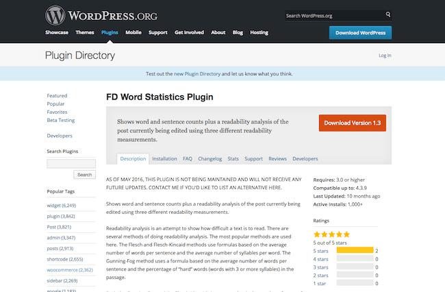FD Word Statistics Plugin