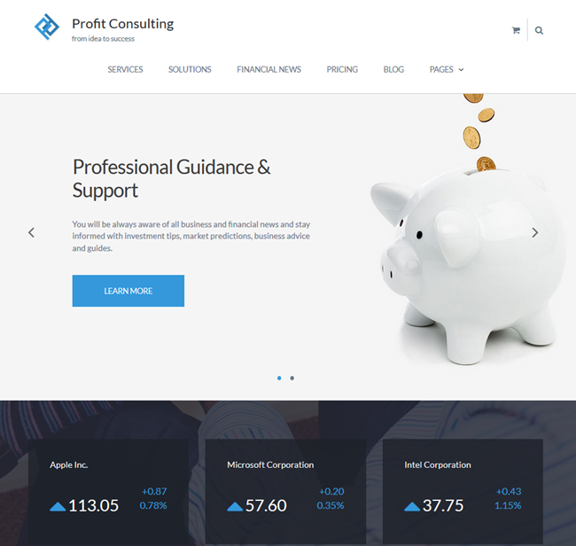 financial advisor wordpress business consulting theme